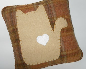 Novelty Cat Pillow - Silhouette Cat - Brown Plaid Appliqued Pillow - I Love Cats