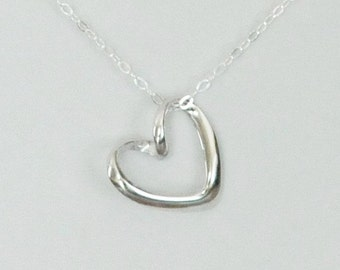 Handmade Necklace, Heart Necklace, Sterling Silver, Bridesmaid Gift, Birthday Gift, Children's Jewelry, Children Gift