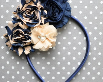 Navy flower headband, Girls headband, Hair accessories, School uniform headband, Navy headband, Navy adult headband, Preppy hair accessory