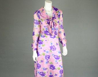 Vintage 1970s Dress - Floral Sheer- Secretary Dress