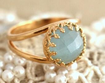 Aquamarine Ring, Aquamarine gemstone ring, Gemstone Ring, Aquamarine gold ring, March birth stone, gold filled Aqua mint gemstone jewelry