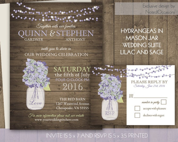 Mason Jar Wedding Invitations with lilac and sage hydrangeas - Rustic Wedding Invitations |Rustic wood and flicker lights Digital printable
