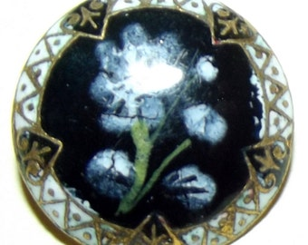 Antique Button Stunning enamel w/ enamel Painted floral design