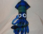Made to Order Fergus McSquidlan - Blue Green and Black Plaid Fleece Squid Plushie Stuffed Animal
