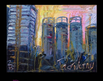 "Oil Paint on Gallery Wrapped Stretched Canvas 24 by 18 by 3/4 in./24"" Original Oil Painting Landscape Art NewYork Architecture Cityscape Pop"