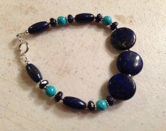 Lapis & Turquoise Bracelet - Navy Blue Jewelry - Gemstone Jewellery - Sterling Silver - Fashion - Unique