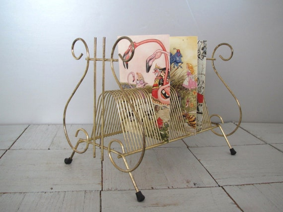 Mid century wire letter holder record rack gold by for Gold letter rack