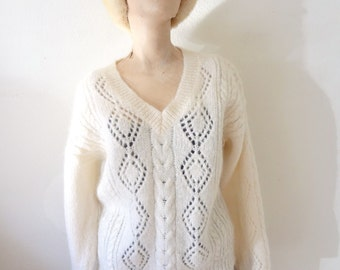 1980s Mohair Sweater - oversized ivory cable knit v-neck jumper - classic vintage