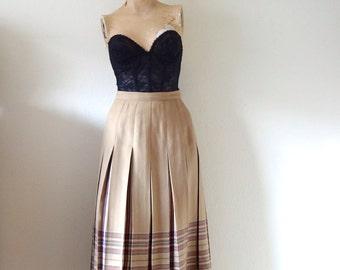 1980s Pleated Skirt - tan & plaid wool a line - preppy vintage