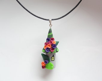 Witch house Halloween necklace in green, purple and orange handmade from polymer clay