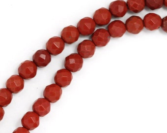 Red Jasper Beads - 4mm Faceted Round