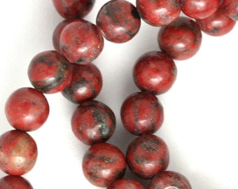 Red Sesame Jasper Beads - 6mm Round