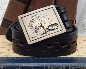 UNISEX ----Two Horses ---Vintage Tech-Ether Guild Inc-THICK Leather Belt --1975 --Solid Brass Buckle