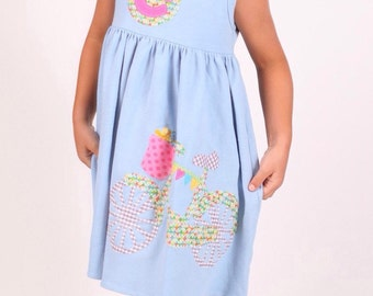 Bicycle Dress, Bicycle Applique, Bike Dress, Girls Bike, Summer Dress, Choose Color and Sleeve Length