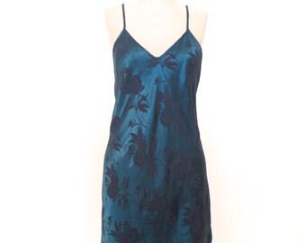 Silky Teal & Black Floral Slip Dress size S/M