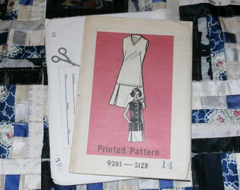 "1960s Vintage Mail Order Pattern 9281, Misses Dress and Jacket, Size 14, Bust 36"", Waist 27"", Hips 38"" Uncut"