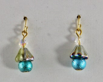 Crystal Glass and Brass Small  Dangle Earrings