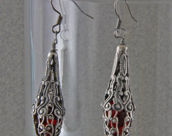 Handmade  Antique Silver and Red Glass Filigree Earrings