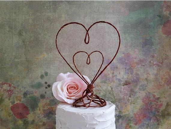 HEART in HEART Rustic Wedding Cake Topper, Rustic Wedding Cake Decoration, Rustic Table Decoration, Rustic Wedding Table Centerpiece