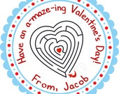 A Maze ing Valentines Day In Blue Personalized Stickers - Favor Labels, Party Favor, Valentines Day, Class Party - Choice of Size