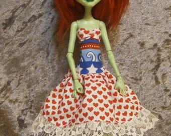 Wave of hearts dress and headband for Monster  dolls