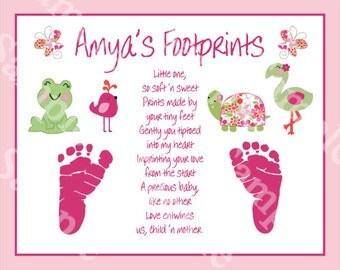 "Personalized ""Once Upon a Pond"" 8x10 Footprints Poem Nursery Art Print"