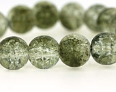 15 Crackle Glass Beads - Green & Clear Crackle - 10mm - BD542