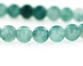 46 Natural Jade Beads - Two Tone Caribbean Sea Green - 8mm - 1 Strand - BD72