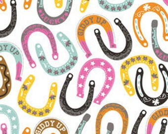 Horseshoe Fabric Maude Asbury Fabric, Lucky Charm in White, Luckie for Blend Fabrics 31 Inches