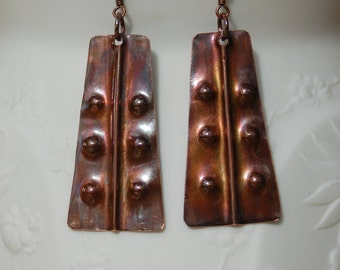 Fold Form Copper Earrings...........item number 454