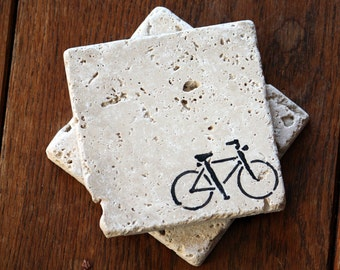 Bicycle Coaster Set, Natural Tumbled Marble Rustic Coasters Set of TWO 4x4, Handmade Home Decor Shabby Chic Stocking Stuffer Simple Gift