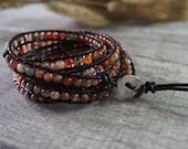 5 Wrap Bracelet Agate Bracelet  Leather Bracelet Leather Wrap Bracelet Beaded Bracelet 10750
