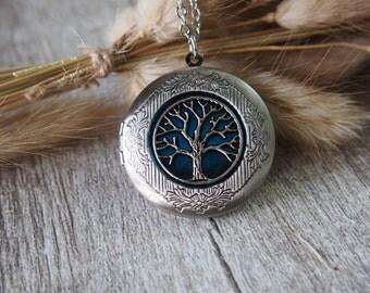 Oxidized Silver Tone Tree Of Life Locket Necklace Tree Charm Tree Necklace Statement Necklace 10953