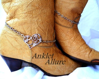 Scrolled Heart Boot Chains Silver Boot Jewelry Cowboy Boots Tall Knee Boots