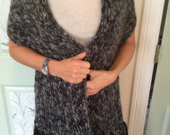 Black, Gray And Silver Knitted Shawl