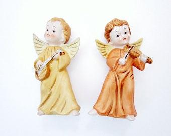Vintage Golden Angel Figurines, Christmas Holiday Decor, Homco Cherubs, Holiday Home Decor, Kitsch Xmas Decoration, Nostalgic Home Interiors