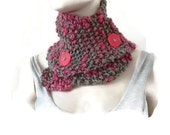 Hand knit Winter Cowl, Cowl with buttons, Cowl Neck Scarf, Womens Cowl