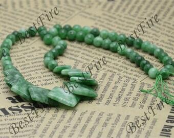 Green square Jade beads Gemstone,Jade loose beads,round Jade bead loose strand 15 inch