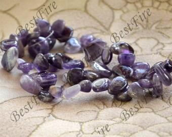 Single Amethyst stone drop shape nugget beads,amethyst stone loose semi-precious stone beads,loose strands