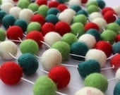 10ft Felt Ball Garland, Christmas Garland, Pom Pom, Bunting Banner, Holiday Decor, Nursery Decor, Kids Room Decor, Felt Balls, Felt Balls