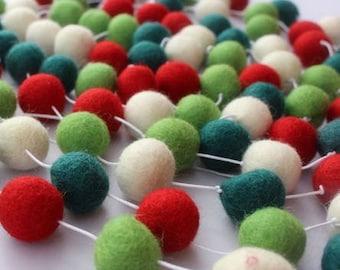 10ft Felt Ball Garland, Christmas Garland, Pom Pom Garland, Holiday Decor, Nursery Decor, Kids Room Decor, Felt Balls, Felt Balls