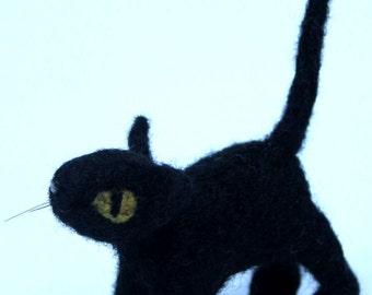 Needle felted Black Cat