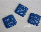 Happy Holidays nautical blue glass holiday ornament with white dots design