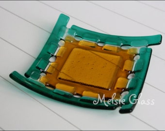 Emerald and Amber Basket glass dish, small anything glass dish