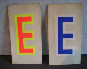 "Vintage 1970's Sticker - Pair Of The Letter ""E"""