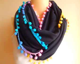 Navy Infinity Scarf/Spring/Fall /Winter Scarf / with Multicolor Pompom
