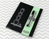 Notebook, Dayplanner or Journal Sleeve or Bandolier with Pen and Pencil Holder - Green