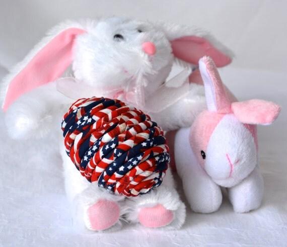Easter Egg Ornament, Handmade Red White and Blue Decoration, Patriotic Easter Egg, Basket Filler, Hand Coiled Fiber Easter Egg, Decoration