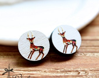 20% off -NEW Unique 3D Embossed  Deer 16mm Round Handmade Wood Cut Cabochon to make Rings, Earrings, ,Necklaces, Bracelets-(WG-142)
