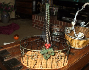 Vintage Basket Handled Antique Brass Tone Metal and Rattan Wicker and Grape Leaf Molif
